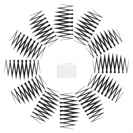 Radial spiral with wavy, zigzag, criss-cross lines...