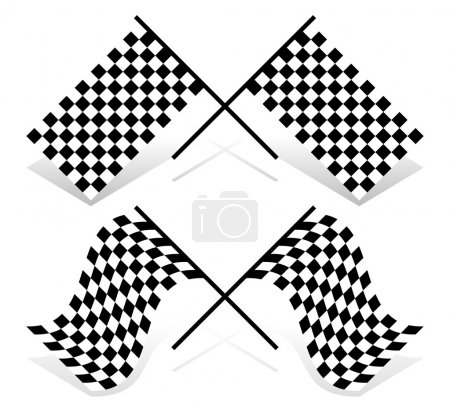 Crossed racing flag set. Resting and waving version.