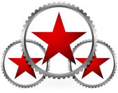 Red stars in gears composition