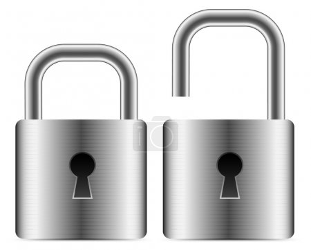 Metallic padlocks - open closed padlocks. vector i...