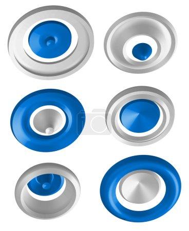 Illustration pour Formes 3D abstraites - symboles de rotation. illustration vectorielle isolée sur blanc - image libre de droit