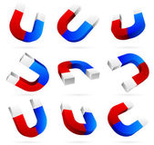 3d Bright magnets in different angles blue white red vector illustration isolated on white background