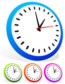 Colorful classic clocks set vector illustration isolated on white background