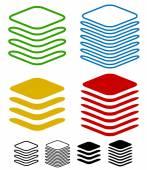 Layers graphics icons set
