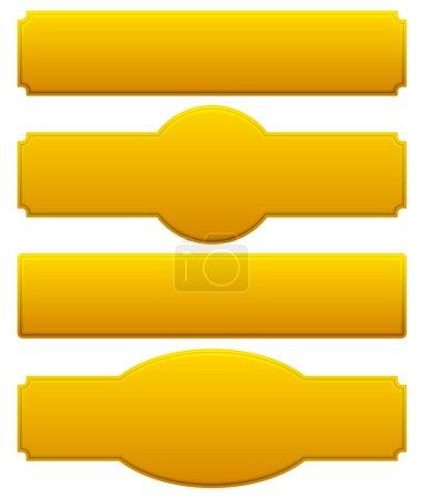 Illustration pour Plaques dorées, panneaux réglés. illustration vectorielle isolée sur fond blanc - image libre de droit