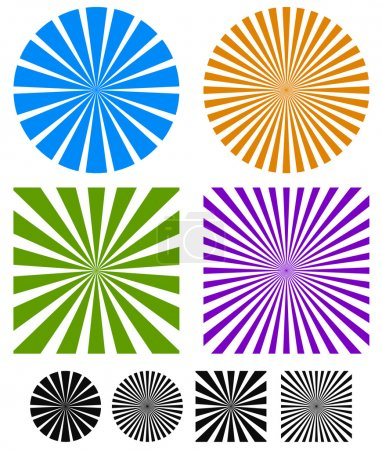 Rays or starburst background set .