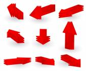 3d red arrow vector set