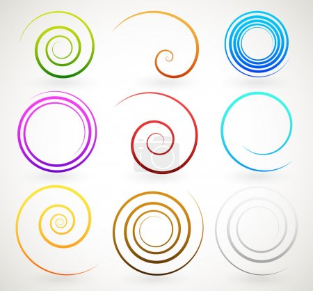 Illustration for Colorful spirals, twirls vector set - Royalty Free Image