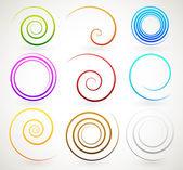 Colorful spirals twirls vector set