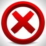 Red x button. X shape, letter, sign. Ban, quit, ex...
