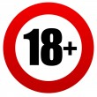 18 age restriction round sign. vector illustration...