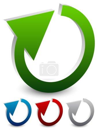 circular arrow.   restart, loop icons