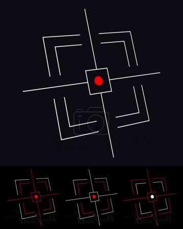 Illustration pour Crosshair, objectif, cible, ciblage, vecteur de viseur - image libre de droit