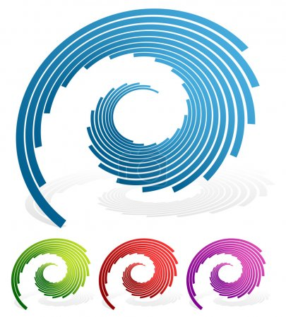 Illustration for Spiralling lines abstract symbols. vector illustration isolated on white - Royalty Free Image