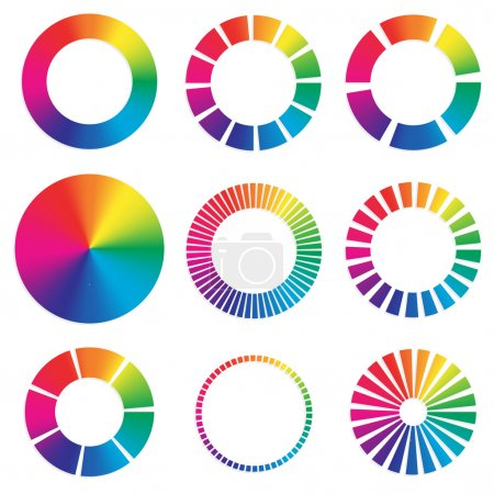 different color wheels.