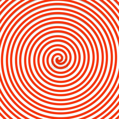 Red spiral background, shape