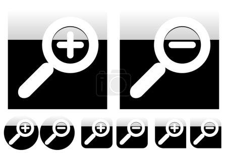 Illustration pour Icônes grossissantes simples mais élégantes avec différentes formes. Effet brillant avec dégradé contrasté . - image libre de droit