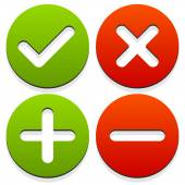 Set of 4 icons with check mark cross and plus minus signs