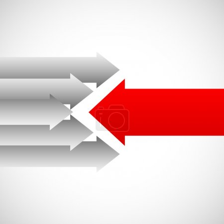 Arrows in opposite directions against each other. ...
