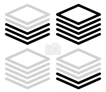 Illustration for Tall black and white progress, steps, phase indicators, vector. (5 steps) - Royalty Free Image