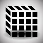 Contour of cube vector symbol isolated on white