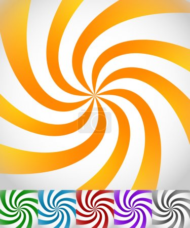 Illustration for Colorful background set with swirling, rotating, twirling stripes, lines. Bright orange, green, blue, red, purple colors and a grayscale version. - Royalty Free Image
