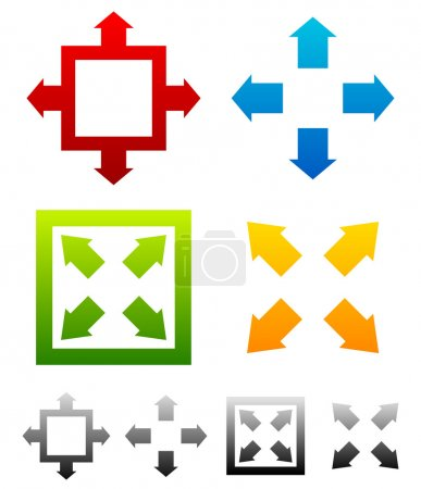 Illustration for Various resize, maximize symbols with colors. Full screen symbols for interfaces - Royalty Free Image