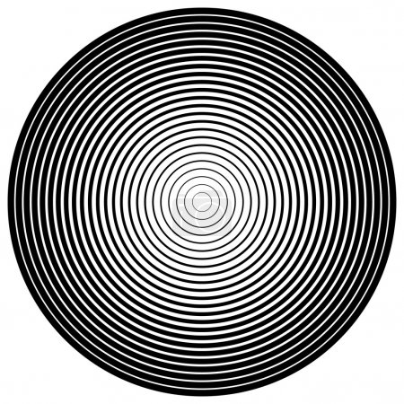 Illustration for Abstract circle element. Concentric circles, ripple effect. Vector. black and white - Royalty Free Image