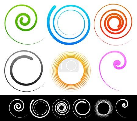 Illustration pour Spirales colorées, tourbillon, formes tourbillonnantes. Illustration vectorielle . - image libre de droit
