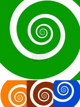 Illustration pour Fond en spirale. lot de 4 couleurs. vert, orange, rouge et bleu. illustration vectorielle . - image libre de droit