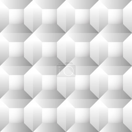 Illustration for Seamless, repeatable patterns with beveled squares. Abstract grayscale, monochrome revetment background. vector. - Royalty Free Image