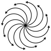 Cyclic rotating curved arrows