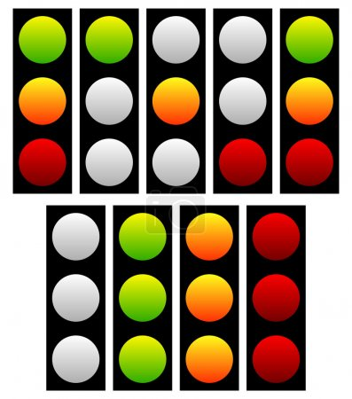 Set of traffic lights, lamps, signals.