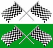 Crossed waving checkered racing flags vector illustration