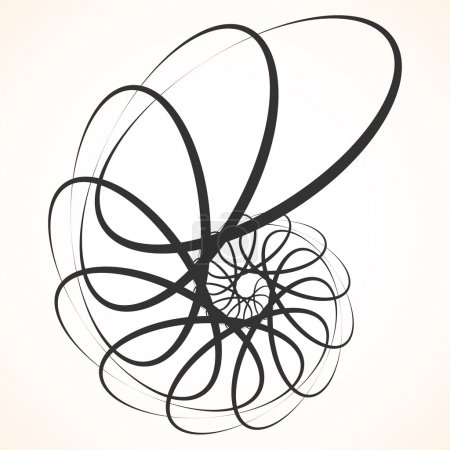 Illustration pour Élément circulaire abstrait. Tournage, formes tourbillonnantes, formes. Motif unique noir isolé sur blanc . - image libre de droit
