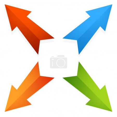 Colorful 4 way diagonal arrows pointing outwards. ...