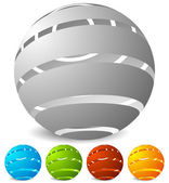 Abstract striped globes icons set in perspective 5 colors