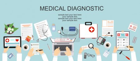 Illustration for Healthcare, hospital and medical diagnostics concept. Web banner with top view of doctors desk, medical equipment - Royalty Free Image