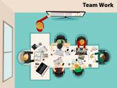 Team work with Flat style