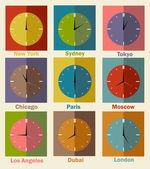 World clock flat icons