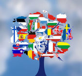Map flags of europe in tree design