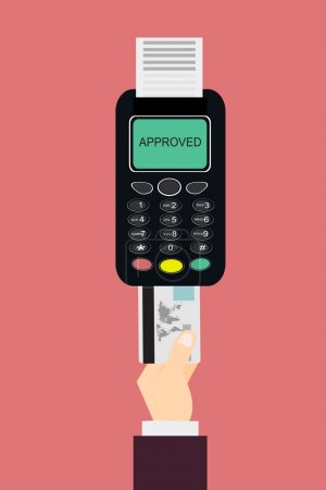 Illustration for Credit card and payment terminal. Vector flat illustration - Royalty Free Image
