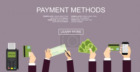 Illustration for Flat design illustration concepts for Payment Methods. Concepts web banner. vector illustration - Royalty Free Image