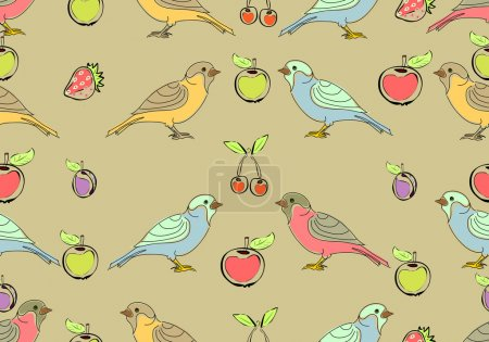 forest birds and fruits pattern
