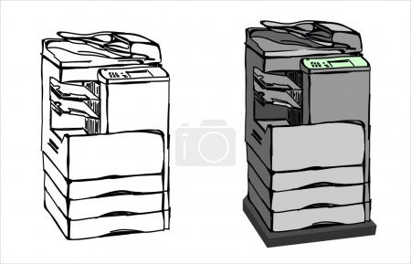 Illustration for Hand drawn sketch of copy machine isolated on white background - Royalty Free Image