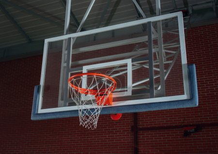 Basketball equipment on an indoor court