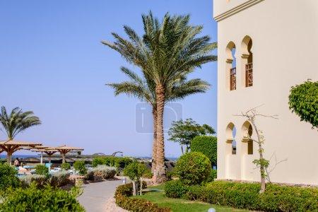 Tropical hotel overlooking the ocean