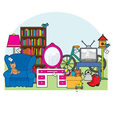 Illustration pour Une exposition d'articles qui sont à vendre dans une vente de garage - image libre de droit