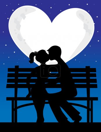 Couple with heart shaped moon