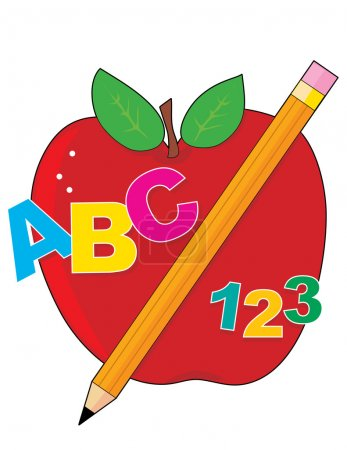 Illustration for Red Apple with a pencil and ABC text.Vector illustration isolated on white background - Royalty Free Image